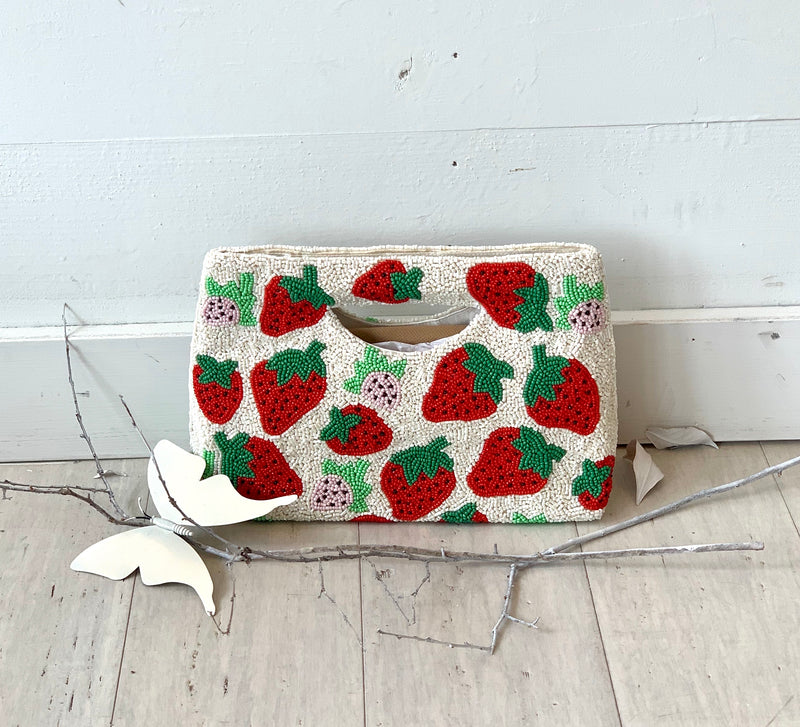 Strawberry Beaded Handbag