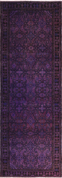 Purple Overdyed Runner Wool Area Rug 4 X 10 - Golden Nile