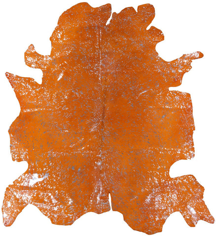 Cowhide Hairhide Metallic Silver Dyed Orange Rug - 5' 6