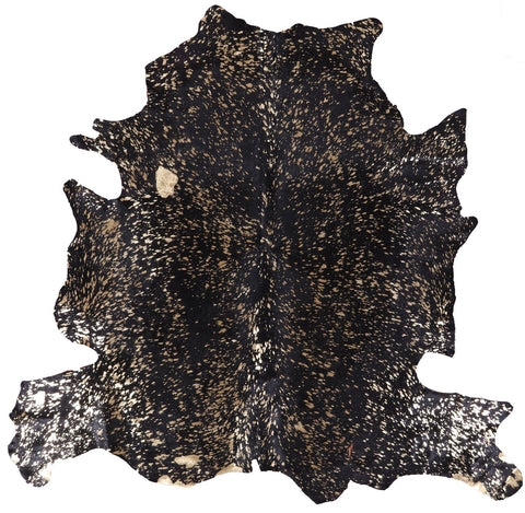 Cowhide Hairhide Metallic Gold on Black Overdyed Rug - 5' 9