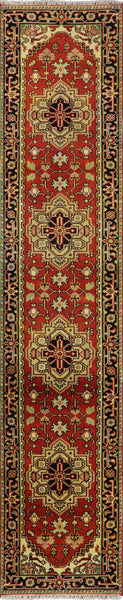 Heriz Serapi Hand Knotted Wool 3 X 12 Floral Design Area Rug - Golden Nile