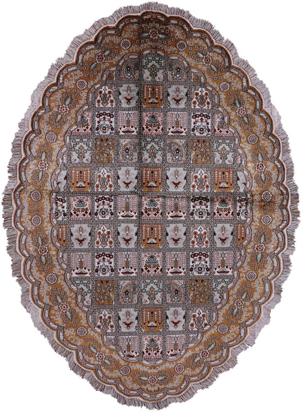 Oval Kashan Silk Rug Hand Knotted Rug - 7' X 10' - Golden Nile