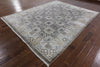 100% Silk Grey Hand Knotted Wool Area Rug 8 X 10 - Golden Nile