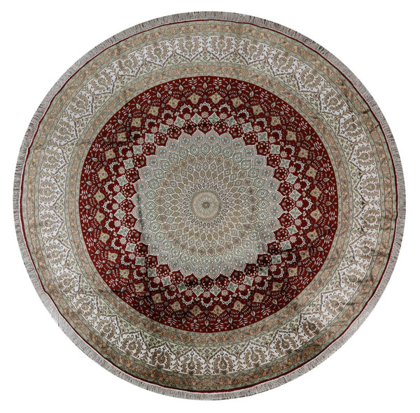 10 X 10 Round 100% Silk Red Kashan Hand Knotted Area Rug - Golden Nile