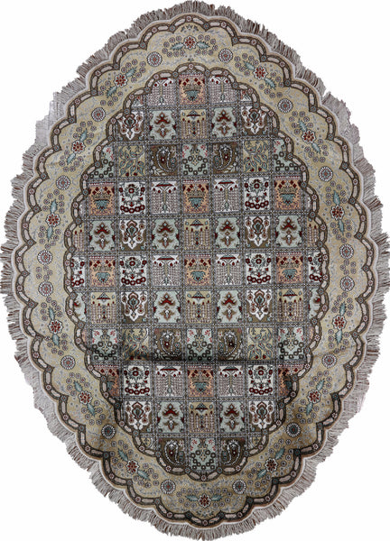 Hand Knotted Kashan Silk Oval Rug 7 X 10 - Golden Nile