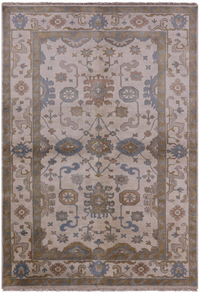 "Oushak Hand Knotted Rug - 6' X 8' 9"" - Golden Nile"
