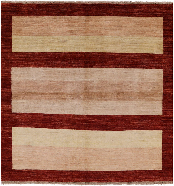 Square Gabbeh Hand Knotted Wool Rug 5' X 5' - Golden Nile