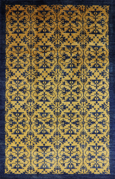Fine Chobi Gold/Navy Blue High Quality Rug 9 x 13 - Golden Nile