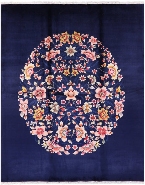 Navy Blue Floral Chinese Wool Area Rug 8 x 10 - Golden Nile