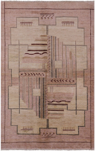"Gabbeh Hand Knotted Rug - 5' 10"" X 9' 3"" - Golden Nile"