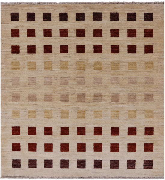 Modern Ivory Square Gabbeh Wool Area Rug 5 X 5 - Golden Nile