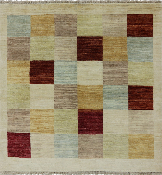 Multicolor Square Gabbeh Hand Knotted Wool Area Rug 5 X 5 - Golden Nile