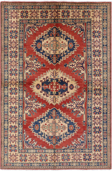 "Geometric Kazak Hand-Knotted Rug - 6' 4"" X 9' 7"" - Golden Nile"