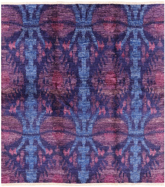 "Ikat Hand Knotted Wool Area Rug - 8' 1"" X 9' - Golden Nile"