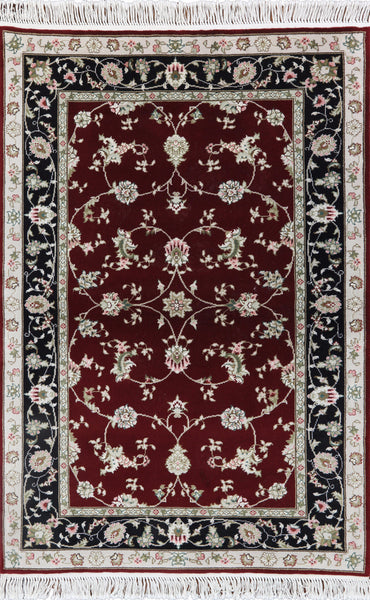 Tabriz Hand Knotted Wool & Silk Area Rug 4 X 6 - Golden Nile