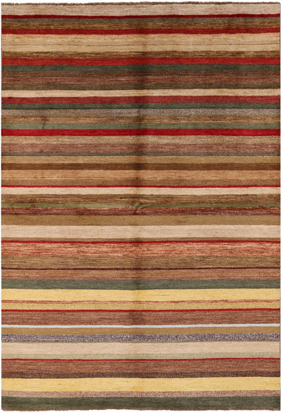 Modern Gabbeh Multicolor Striped Wool Area Rug 7 X 10 - Golden Nile