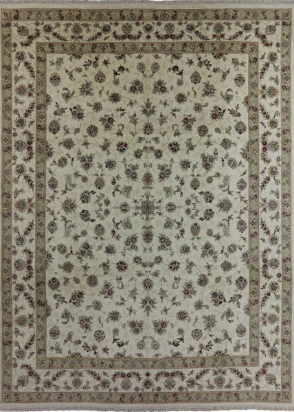 Floral Rajasthan Wool & Silk Area Rug 12 X 15 - Golden Nile