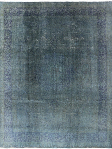 Overdyed Hand Knotted Blue Oriental Rug 10 X 13 - Golden Nile