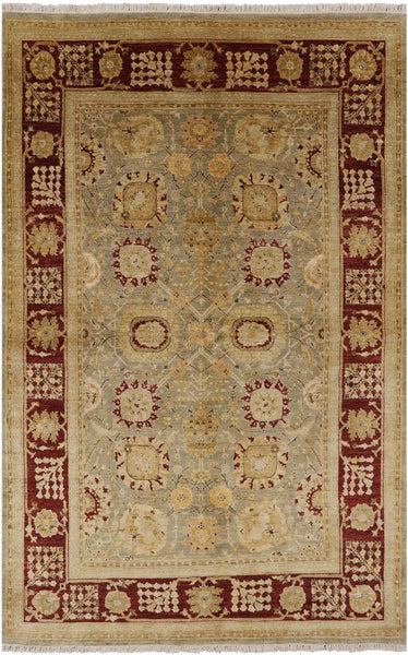 "Traditional Peshawar Wool Rug - 6' 2"" X 9' 8"" - Golden Nile"