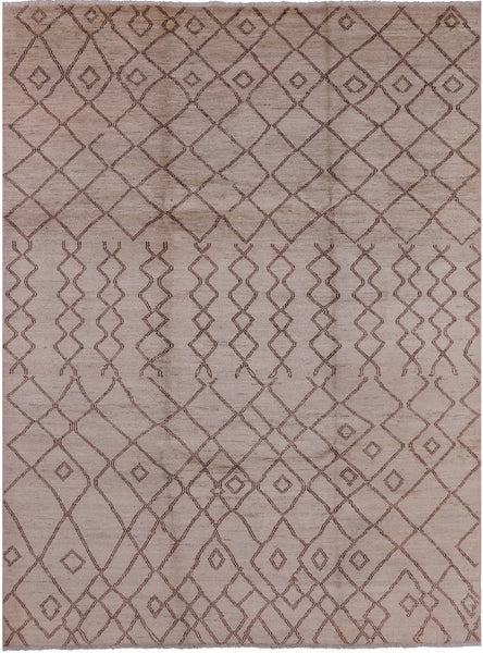 "Moroccan Hand Knotted Wool Rug - 8' 6"" X 11' 5"" - Golden Nile"