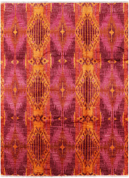 "Ikat Hand Knotted Wool Area Rug - 8' 10"" X 12' 0"" - Golden Nile"