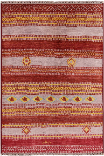 "Signed Moroccan Southwest Navajo Handmade Area Rug - 6' 3"" X 9' 1"" - Golden Nile"