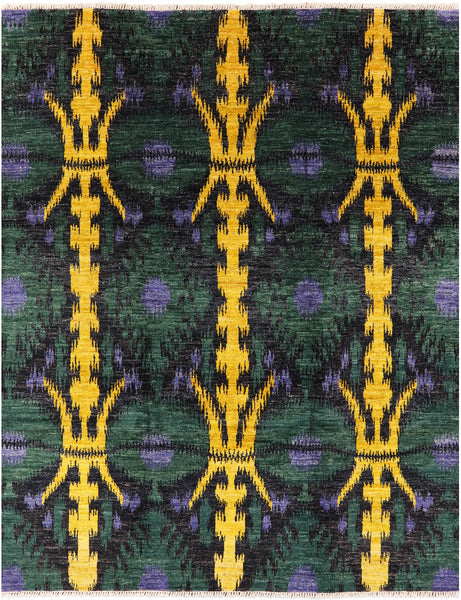 "Ikat Hand Knotted Wool Area Rug - 8' 1"" X 10' 4"" - Golden Nile"