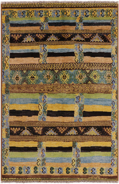 "Moroccan Navajo Hand Knotted Wool Area Rug - 6' 2"" X 9' 3"" - Golden Nile"