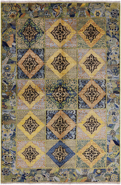"William Morris Hand Knotted Wool Area Rug - 6' X 8' 10"" - Golden Nile"