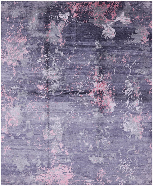 "Abstract Hand Knotted Silk Area Rug - 8' X 9' 10"" - Golden Nile"