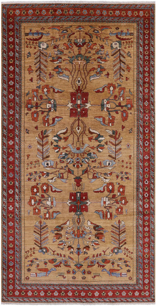 "Fine Serapi Hand Knotted Rug - 6' 2"" X 11' - Golden Nile"