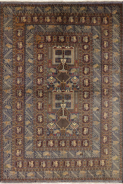 Wool On Wool Balouch Rug 7 X 10 - Golden Nile