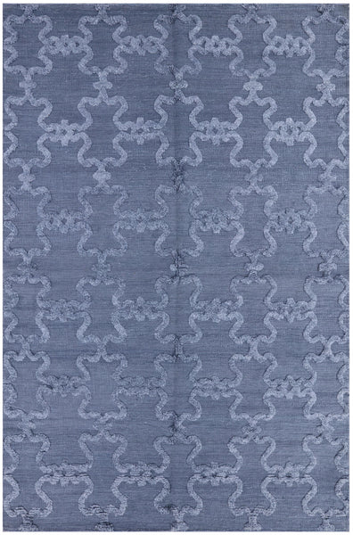 "Flat Weave Wool & Silk Area Rug - 6' 1"" X 9' 1"" - Golden Nile"