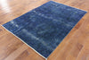 5 X 7 Blue Overdyed Wool Area Rug - Golden Nile