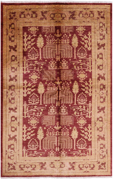 "Peshawar Hand Knotted Wool Rug - 5' 5"" X 8' 3"" - Golden Nile"