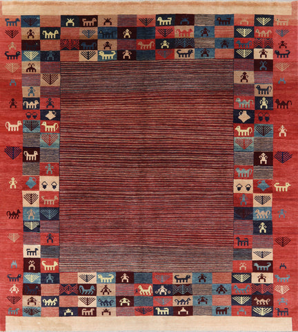 8' Square Hand Knotted Gabbeh Area Rug