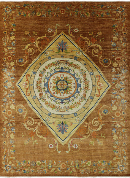 10 X 14 Hand Knotted Oriental Art Deco Area Rug -  Golden Nile