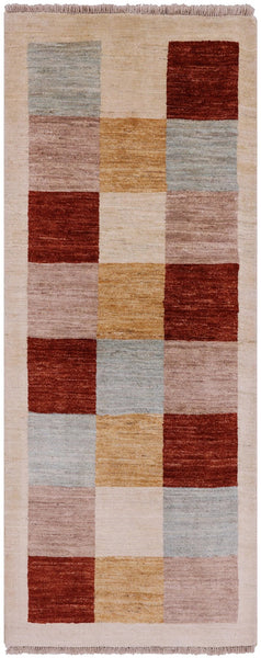 3 X 7 Geometric Gabbeh Area Rug -  Golden Nile