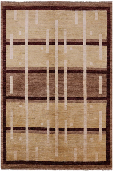 Hand Knotted Gabbeh 6 X 9 Area Rug - Golden Nile