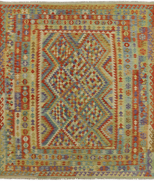 9 X 10 Reversible Flat Weave Kilim Area Rug -  Golden Nile