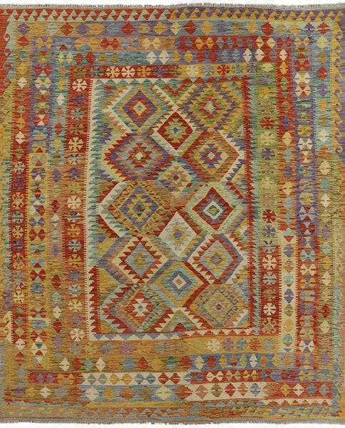 8 X 10 Reversible Kilim Flat Weave Area Rug -  Golden Nile