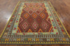 Reversible Tribal Flat Weave Kilim Area Rug 7 X 10 -  Golden Nile
