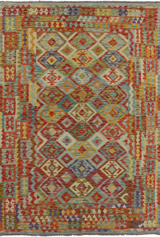 Multi-Color Kilim Oriental Flat Weave 7 X 10