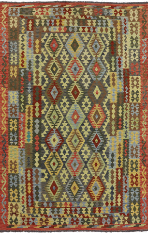 Reversible Tribal Kilim Oriental Area Rug 7 X 10