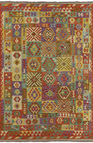 Tribal Flat Weave Kilim Area Rug 7 X 10