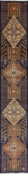 3 X 17 Hand Knotted Fine Serapi Area Rug -  Golden Nile