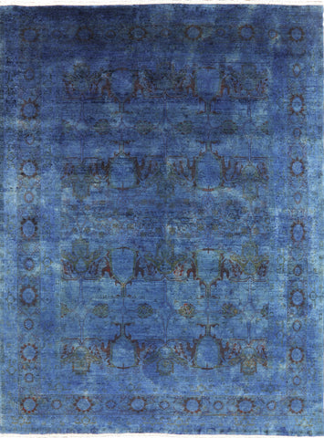 Blue Persian Overdyed Area Rug 9 X 12