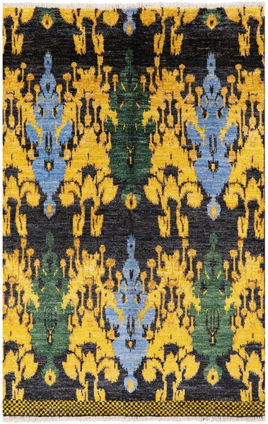 "Ikat Hand Knotted Area Rug - 5' 2"" X 8' 1"" - Golden Nile"
