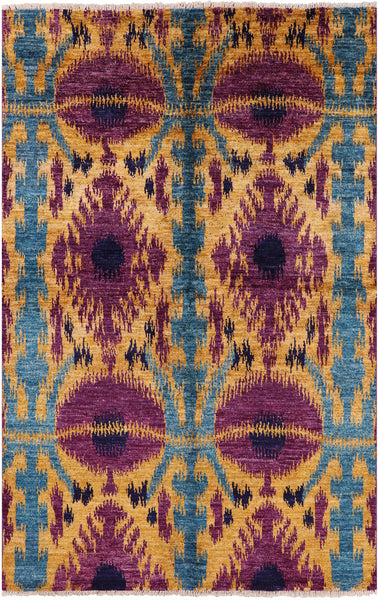 "Ikat Hand Knotted Wool Area Rug - 5' 10"" X 9' 5"" - Golden Nile"