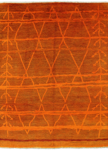 Orange Moroccan Area Rug 9 X 12